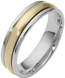buy 4Mm Two-Tone 18 Karat Gold Designer Spinning Wedding Band Ring - 975