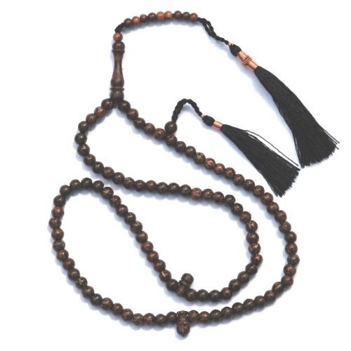 Prayer Beads - 6mm Sugar Palm Wood Tasbih Tesbih Misbaha with Copper Decorated Tassels