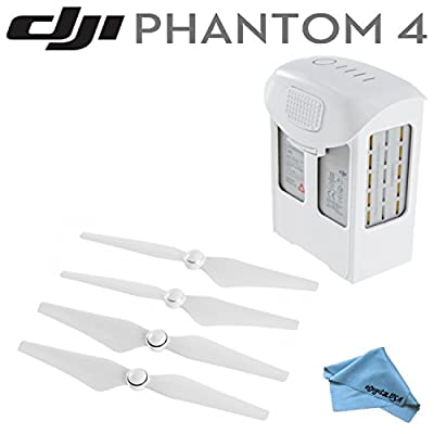 DJI Phantom 4 Accessory Bundle: Includes DJI Intelligent Flight Battery for Phantom 4, DJI Phantom 4 - 9450S Quick Release Propellers & eDigitalUS Microfiber Cleaning Cloth
