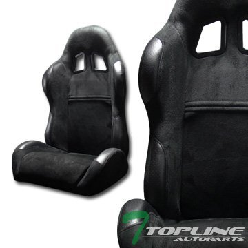 Topline Autopart Sp Sport Style Black Suede Leather Reclinable Racing Bucket Seats Sliders L+R T01 (Racing Seats For 98 Dodge Neon compare prices)