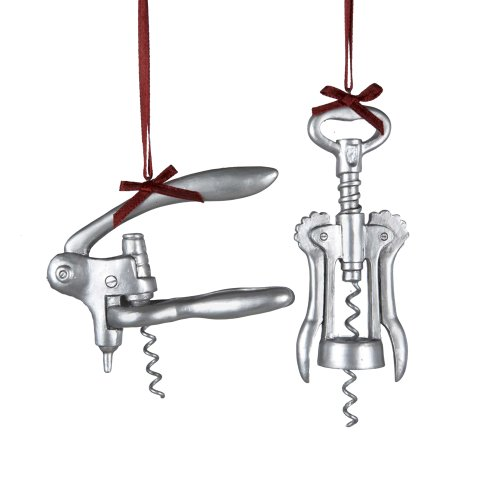 Kurt Adler Corkscrew Bottle Opener Ornaments