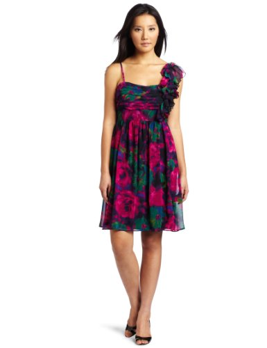 AGB Women's Empire Waistband Dress with One Shoulder Ruffled Sleeve, Floral Rose, 12