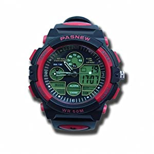 P&o Paswater-Proof Boy/Student Sport Watch Double Movement Pse-048B