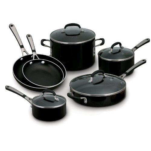 Simply Calphalon Enamel 10 Piece Set- Black (Calphalon 10 Inch Everyday Pan compare prices)