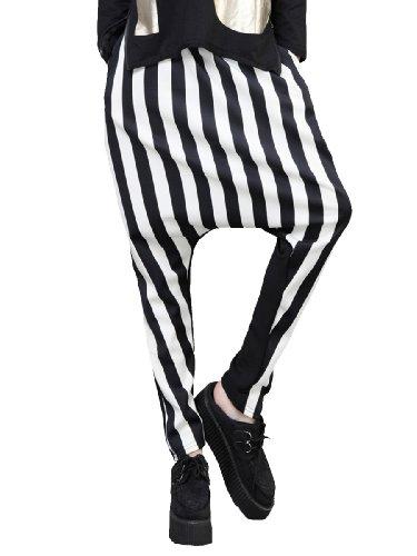 Ellazhu Women Baggy Harem Hippie Hip-Hop Stripes Pants Trousers Onesize Gn06