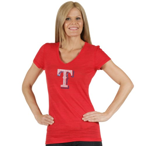 MLB Texas Rangers Women's Tri Blend Multi Count V Neck Tee, X-Large, Red (Texas Rangers Shirts Women compare prices)