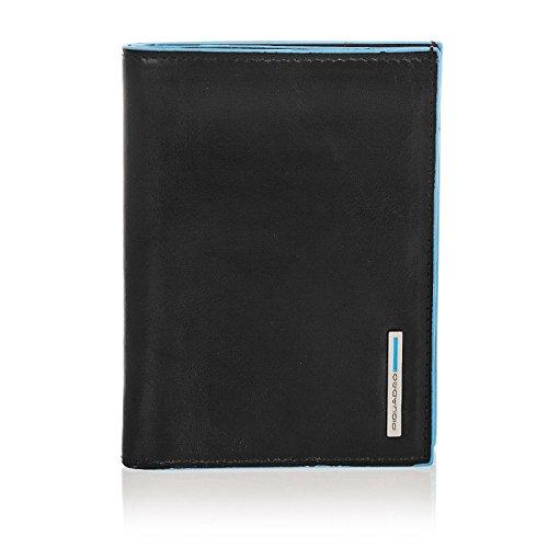 Piquadro Blue Square Portafoglio uomo verticale con scomparti per banconote, carte di credito e documenti nero PU1393B2/N