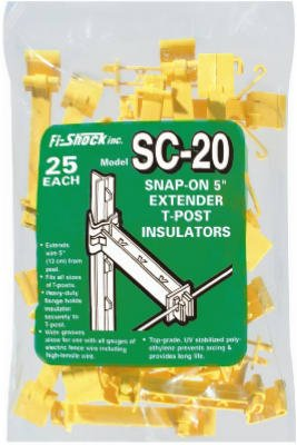 Woodstream It5Xy-Fs Electric Fence Insulator, Studded T-Post Wire Extender, Snap-On, 5-In. - Quantity 10
