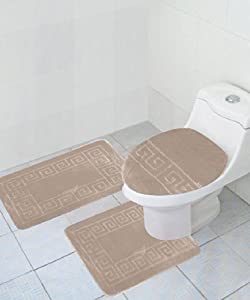 "3 Piece Bath Rug Set Pattern Bathroom Rug (20""x32"")/large Contour Mat (20""x20"") with Lid Cover (Beige) by AHF"