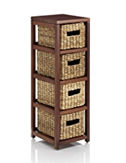 Water Hyacinth Small 4 Tier Storage Unit