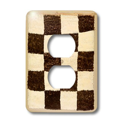 Lsp_193089_6 Florene - Vintage Textiles - Print Of Peruvian Rug From 1500 In Black White Check - Light Switch Covers - 2 Plug Outlet Cover