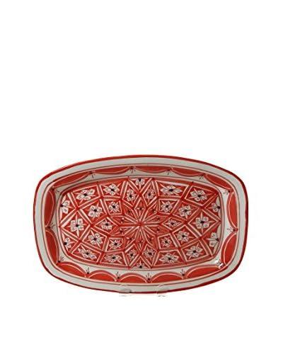 Le Souk Ceramique Nejma Rectangular Platter, Red/White