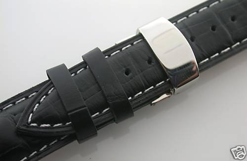 19Mm Leather Watch Band Deployment Strap For Omega #1 Black