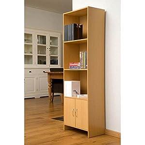 Beech Effect 4 Shelf Bookcase with Doors