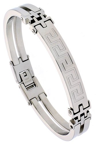 Stainless Steel Greek Key Bracelet 3/8 inch wide, 8 inch long