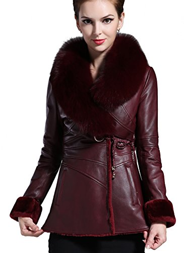 Borgasets Womens Leather Fleece Belted Jacket Coat Fox Fur Collar Outerwear Bg136085<br />