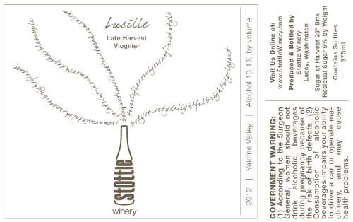 """2012 Stottle Winery """"Lucille"""" Late Harvest Viognier 375 Ml"""