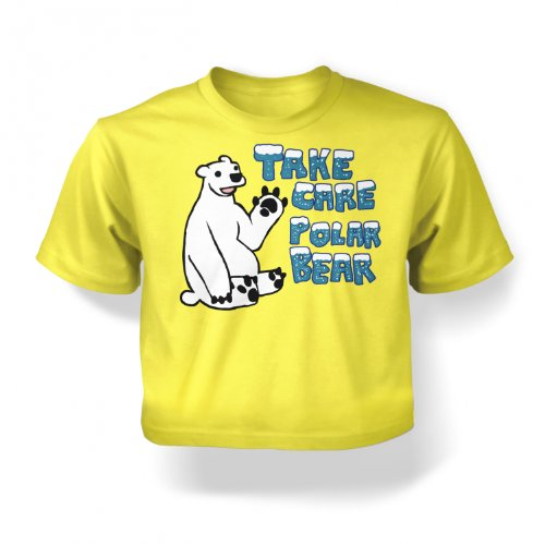 Take Care Polar Bear Babies T-Shirt - Pale Yellow 6-12 Months front-190167