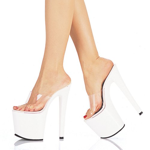 UPTOWN-801, 7 1/2  Heel Clear/White Sandals, by Pleaser USA