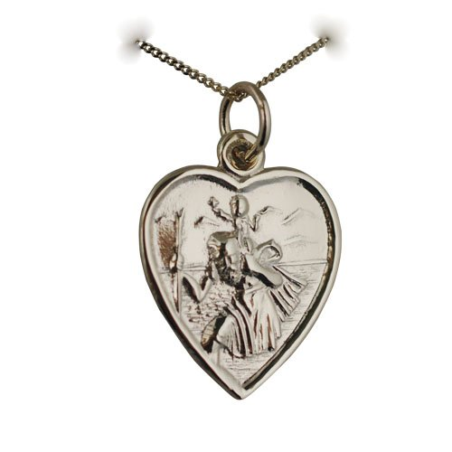 9ct Gold 17x16mm heart St Christopher Charm with a curb chain 16 inches Only Suitable for children