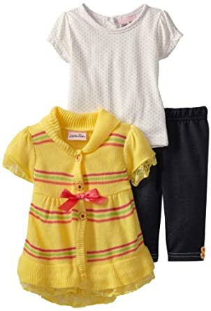 Little Lass Baby-Girls Infant 3 Piece Sweater Set with Bow, Yellow, 18 Months