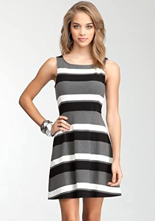 bebe Striped Fit &Flare Dress Day Dresses Black Multi-l