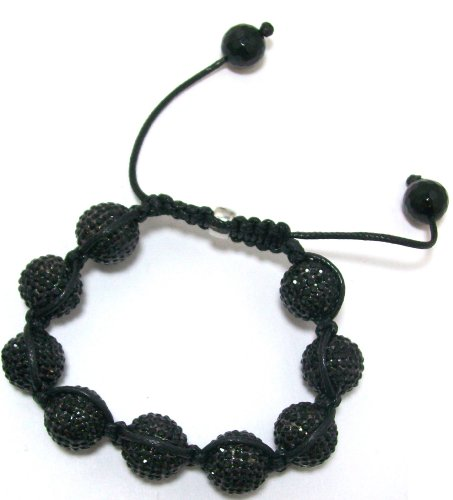 Clearance! Just Give Me Jewels Yoga Shamballa Style Macrame Bead Bracelet With Micro-Pave 12mm Black CZ Crystal Beads