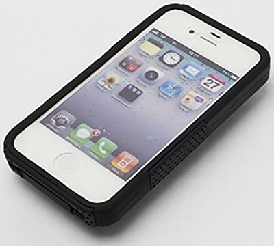 iPhone 4 Case, Bastex Heavy Duty Hybrid Case - Soft Black Silicone Cover with Hard Black Mesh Case for Apple iPhone 4, 4g, 4s 4gs by Bastex