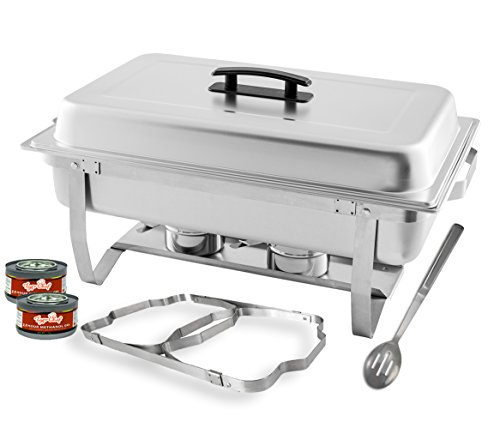TigerChef 8 Quart Full Size Stainless Steel Chafer with Folding Frame and Cool-Touch Plastic on top - includes 2 Free Chafing Gels and Slotted Serving Spoon (1, 8 Quart Chafer)... (Buffet Serving Pans compare prices)