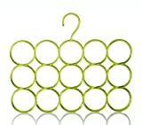 Single Piece 15-Circle Plastic Ring Hanger for Scarf, Shawl, Tie, Belt, Closet Accessory (Green)
