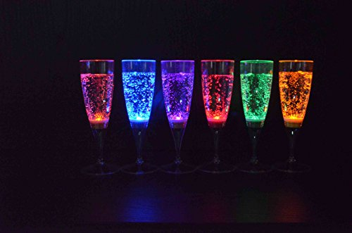 6 pièce verre de champagne dans un ensemble LED rétroéclairé LED verre Parti verre de 150 ml de la marque PRECORN