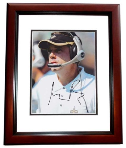 Sean Payton Autographed New Orleans Saints 8x10 Photo MAHOGANY CUSTOM FRAME - Super Bowl XLIV Champi at Amazon.com