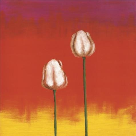 Oil Painting 'Two Tulips', 8 x 8 inch / 20 x 20 cm , on High Definition HD canvas prints is for Gifts And Basement, Garage And Nursery Decoration, create your own art (Deluxe Coupon Organizer Ii compare prices)