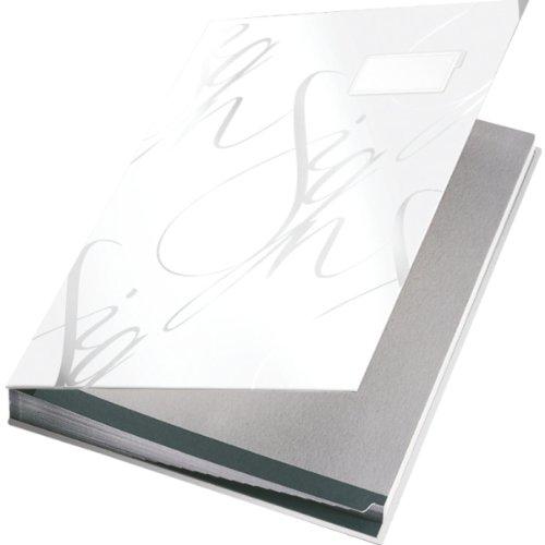 Leitz 57450001 Unterschriftsmappe Design, 18 Fächer, weiß