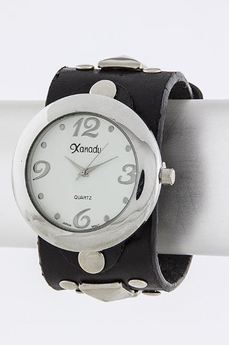 Contempo Couture Stud Leather Wrap Watch (White)