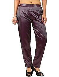 PEEPAL Women's Regular Fit Satin Pants