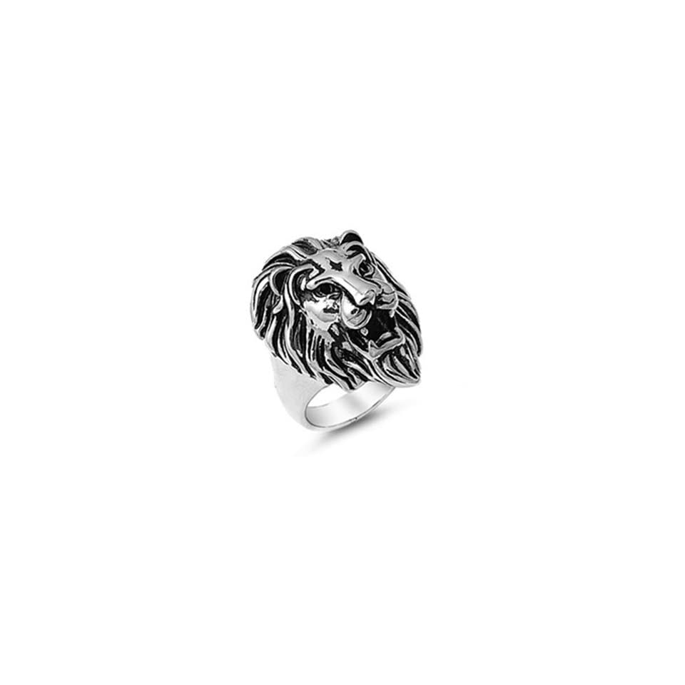 Stainless Steel Lion Head Mens Ring Size 9 Jewelry
