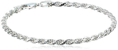 Sterling Silver 060-Gauge Diamond-Cut Rope Chain Bracelet, 8
