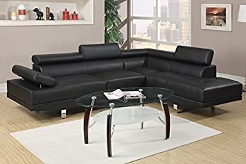 2 pc Zorba modern style black leather like vinyl Sectional sofa with adjustable headrests and tufted seats with
