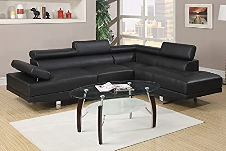 Poundex Black Leather Modern Sectional Sofa