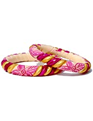 7Craft Antique Handmade Carving Hand Painted Magenta-Golden Bangles Or Kadas For Women (Size 2-8)