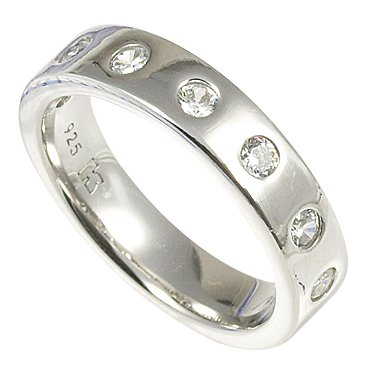 Merii Sterling Silver White CZ Half Eternity Band Ring