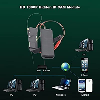 DIY Mini Hidden Spy Camera Wifi Module Home Security Camera System Wireless Motion Activated Detection on Smartphone Remote Access with Audio Full Hd 1080p Ip CAM Pinhole P2p Dvr Camcorders Digital Video Recorder for Android Ios Iphone by iCoolSmart