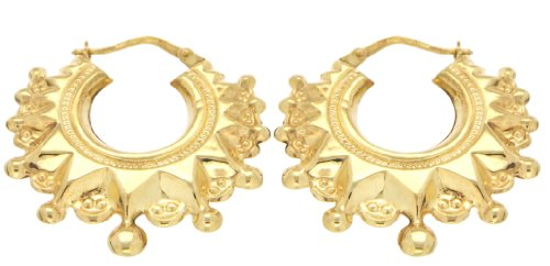 9ct Yellow Gold  Fancy Large Earrings