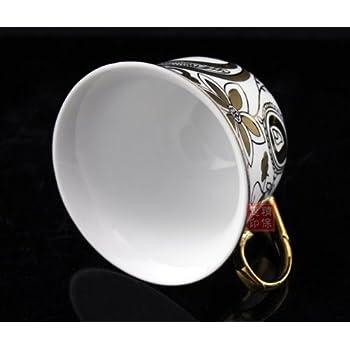ufengkeWhite And Gold Flower 13 European Retro Titanium Ceramic Tea Set Tea Service For Wedding