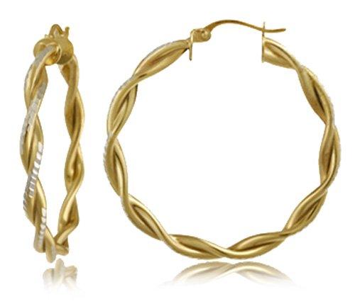 18k Yellow Gold Plated Sterling Silver Double Row Twist Hoop Earrings (.8