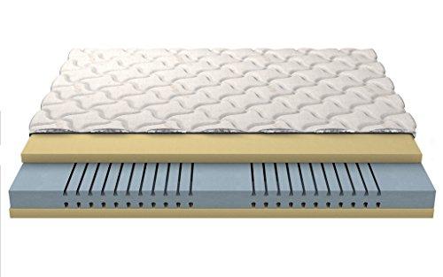 """Materasso Memory foam 3D Visco alta schiuma 2Fare VISCO espanso schiumato a freddo di schiuma di poliuretano 22cm a 3 strati trapuntato di copertura """"Silver"""" 140x200 cm"""
