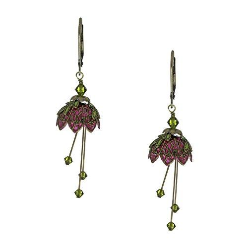 [NoMonet Flower Fairy Vintage Style Hand Painted Pixie Flower Dangle Earrings - Green] (Fairy Princess Costume Diy)