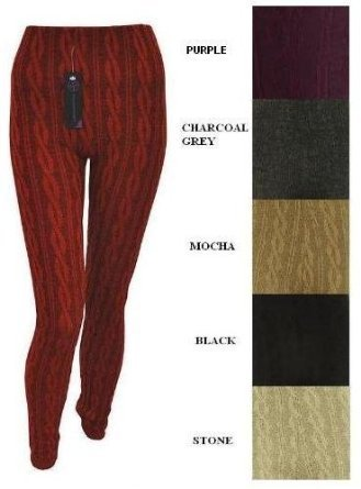 LADIES CHUNKY CABLE KNITTED FULL LENGTH THICK LEGGINGS WOMEN STRETCHY PANTS