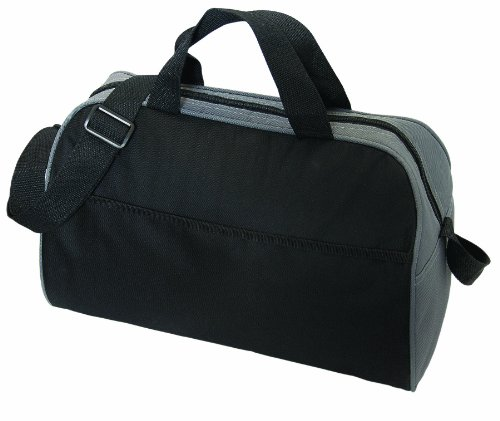 Large Two-Tone 18 Can Insulated Lunch Bag Cooler Durable Nylon, Black with Grey by BAGS FOR LESSTM - 1